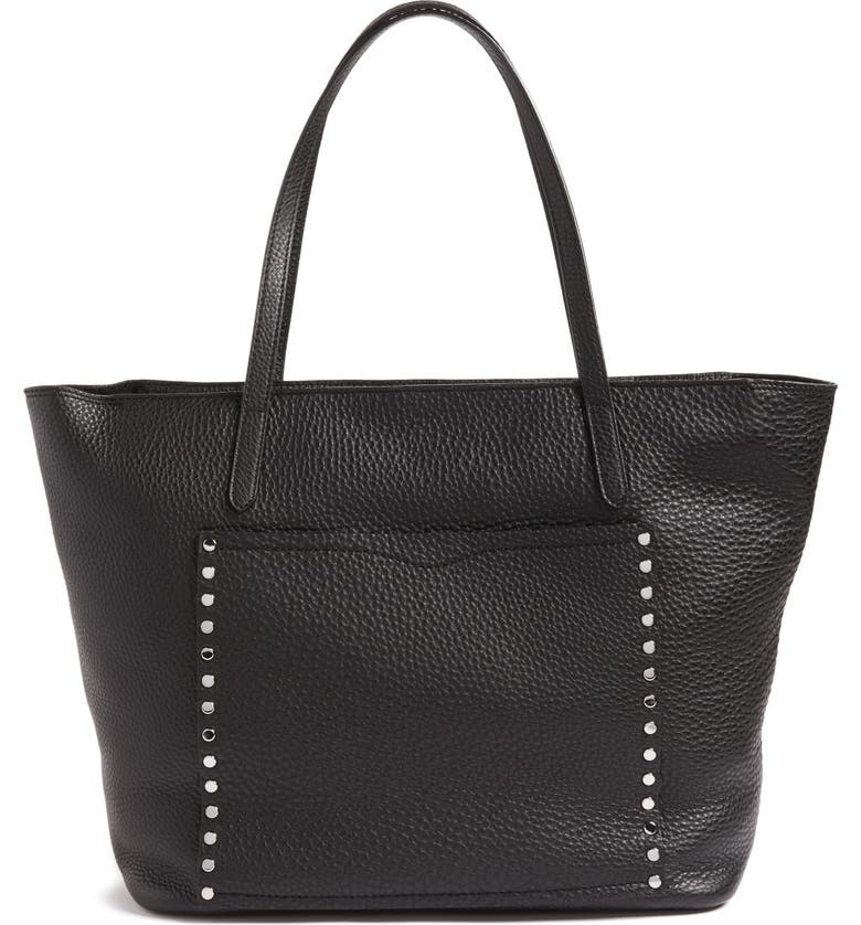 REBECCA MINKOFF Unlined Front Pocket Leather Tote, Main, color, 001