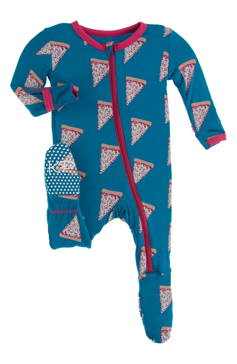 KICKEE PANTS Pizza Print Fitted One-Piece Pajamas, Main, color, SEAPORT PIZZA SLICES
