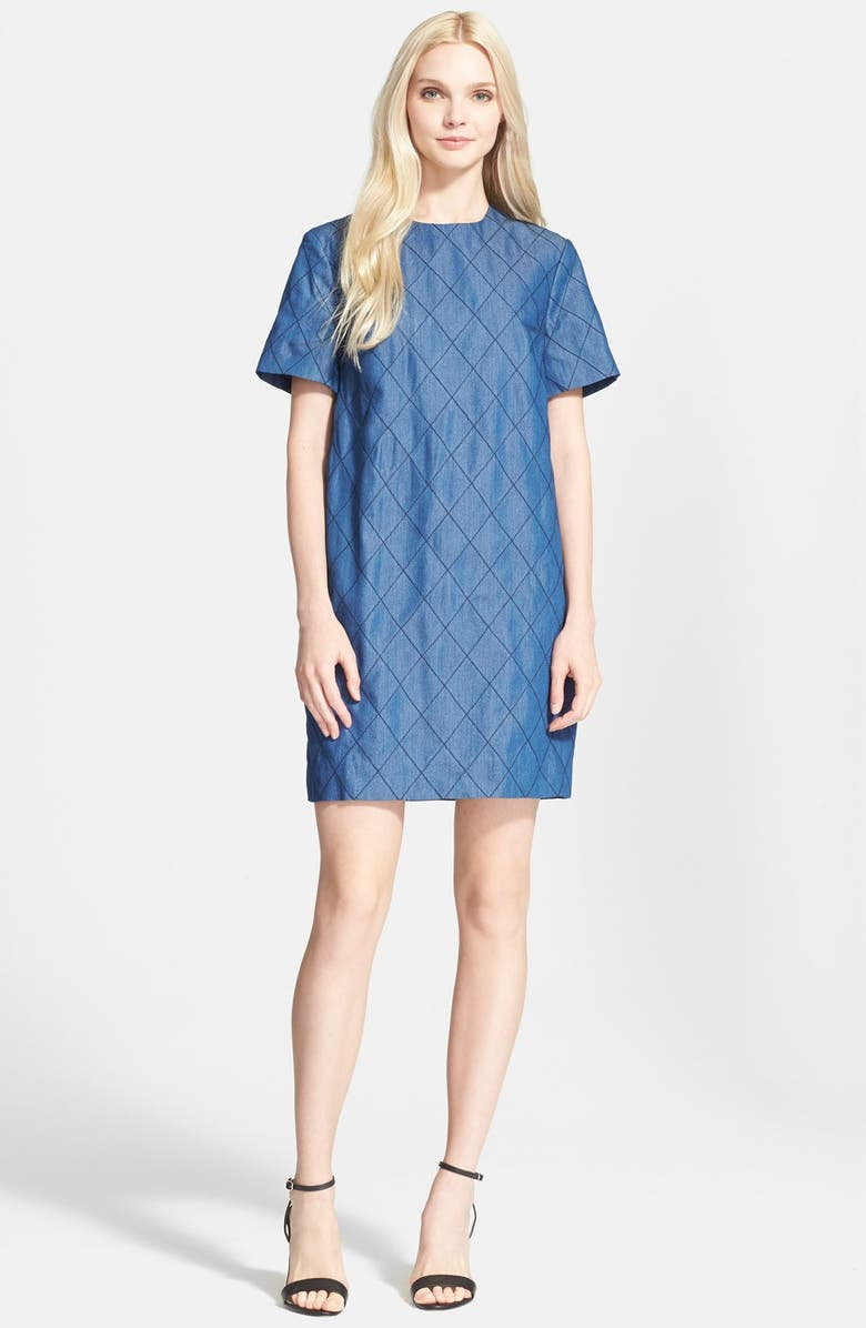 KATE SPADE NEW YORK quilted chambray shift dress, Main, color, 424