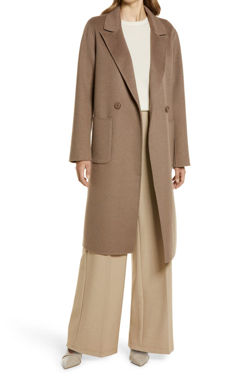 HALOGEN<SUP>®</SUP> Double Face Wool Coat, Main, color, BROWN SHIITAKE
