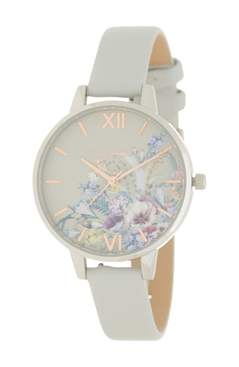 OLIVIA BURTON Enchanted Garden Faux Leather Strap Watch, 34mm, Main, color, GREY/ WHITE FLORAL/ SILVER