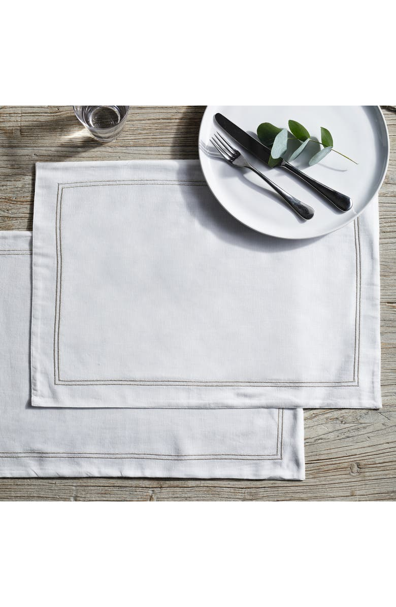THE WHITE COMPANY Runner Double Row Cord Set of 2 Placemats, Main, color, 100