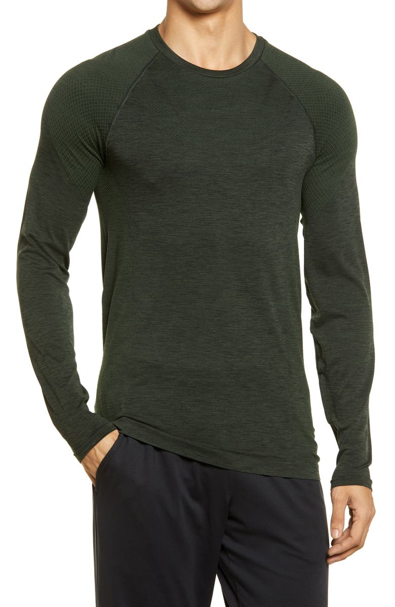 ALO Conquer Performance T-Shirt, Main, color, HUNTER HEATHER