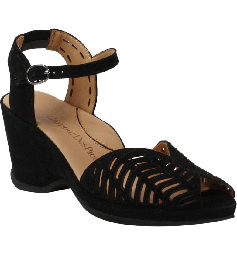 L'AMOUR DES PIEDS Oanez Wedge Sandal, Main, color, BLACK SUEDE