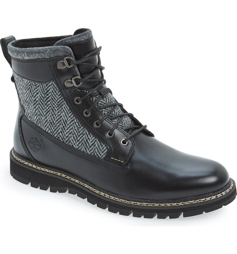 TIMBERLAND 'Britton Hill' Harris Tweed Boot, Main, color, Black