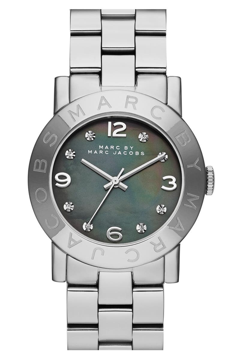 MARC JACOBS 'Amy' Mother-of-Pearl Dial Watch, 37mm, Main, color, 040