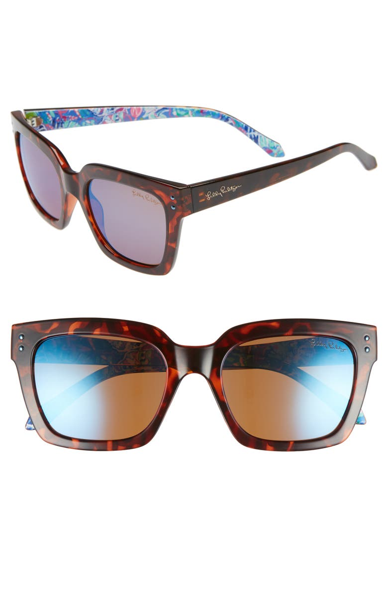 LILLY PULITZER<SUP>®</SUP> Lilly Pulitzer Celine 54mm Polarized Square Sunglasses, Main, color, DARK TORTOISE/ BLUE FLASH