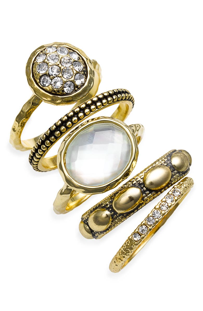 ARIELLA COLLECTION Multi Stone Stackable Rings, Main, color, MOONSTONE MLTI/GLD