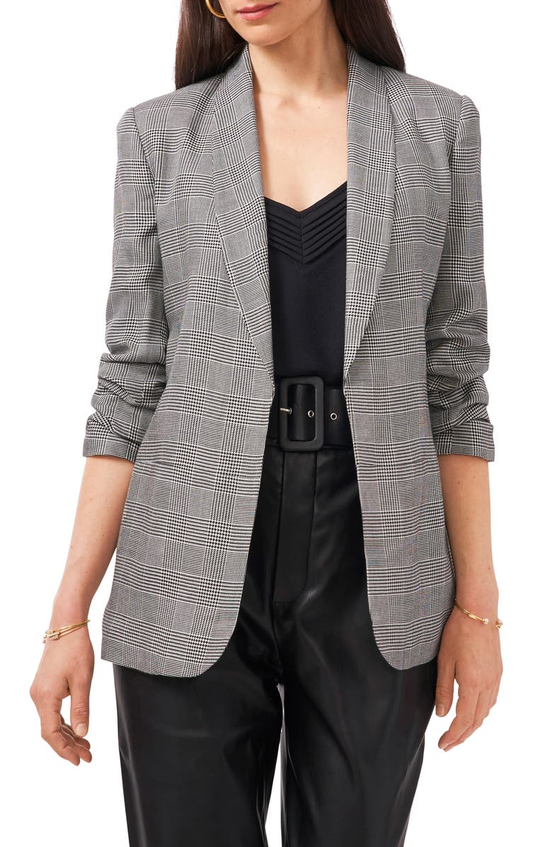 1.STATE Check Ruched Sleeve Jacket, Main, color, RICH BLACK