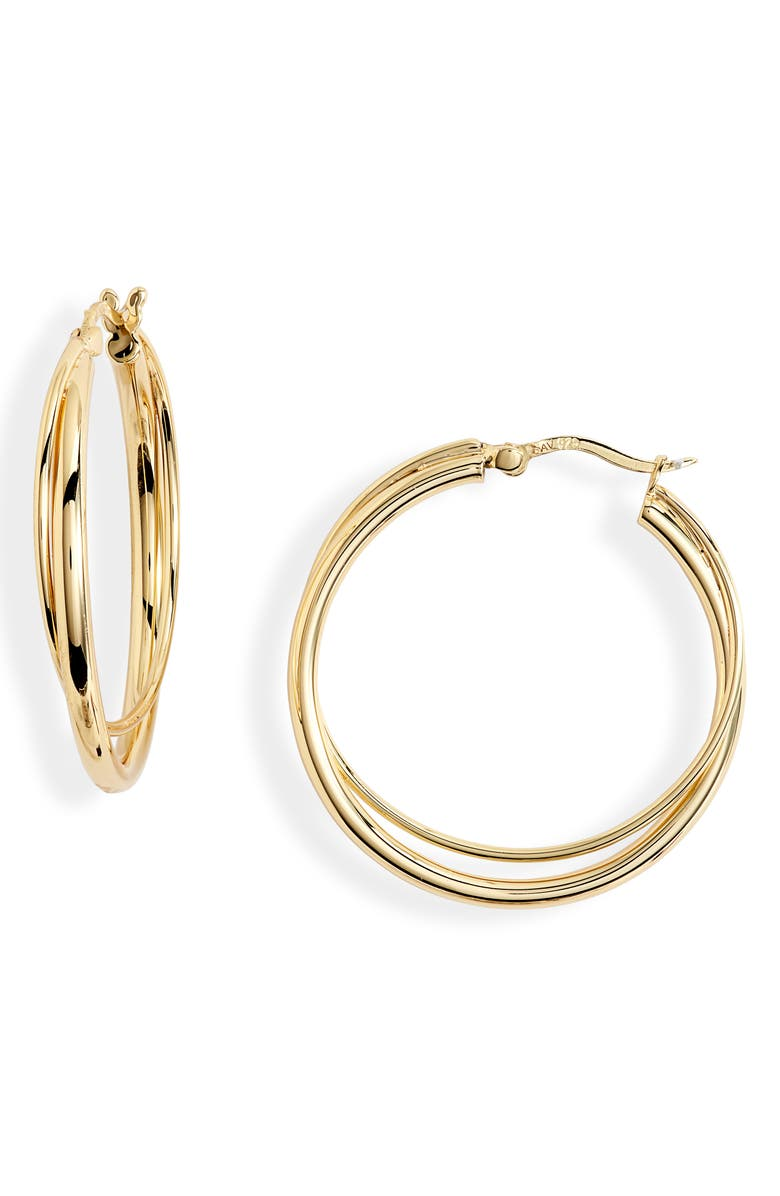 ARGENTO VIVO STERLING SILVER Double Tube Hoop Earrings, Main, color, GOLD