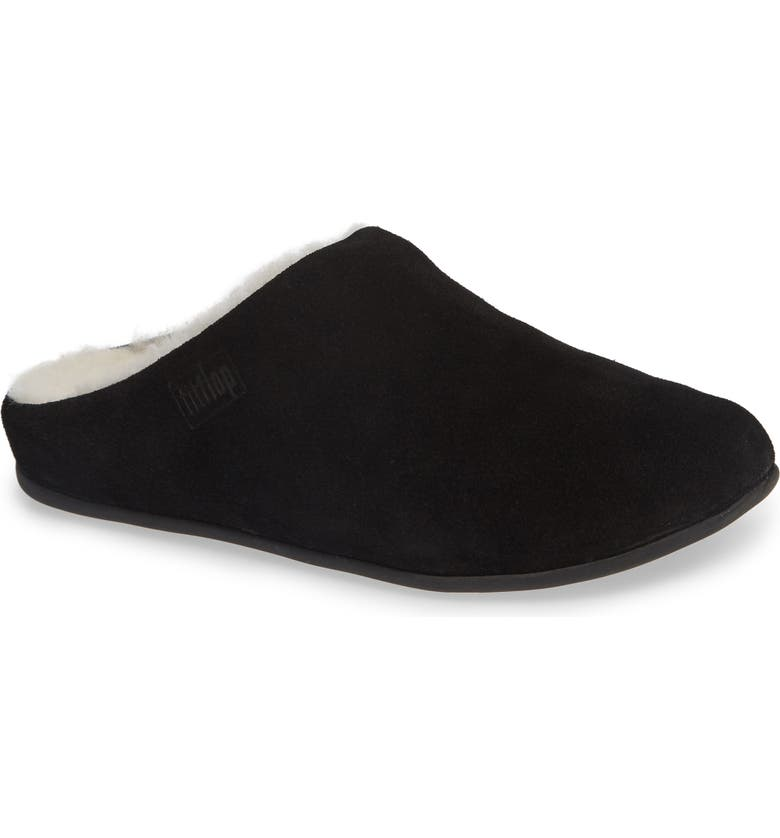 FITFLOP Chrissy Genuine Shearling Lined Mule, Main, color, BLACK SUEDE