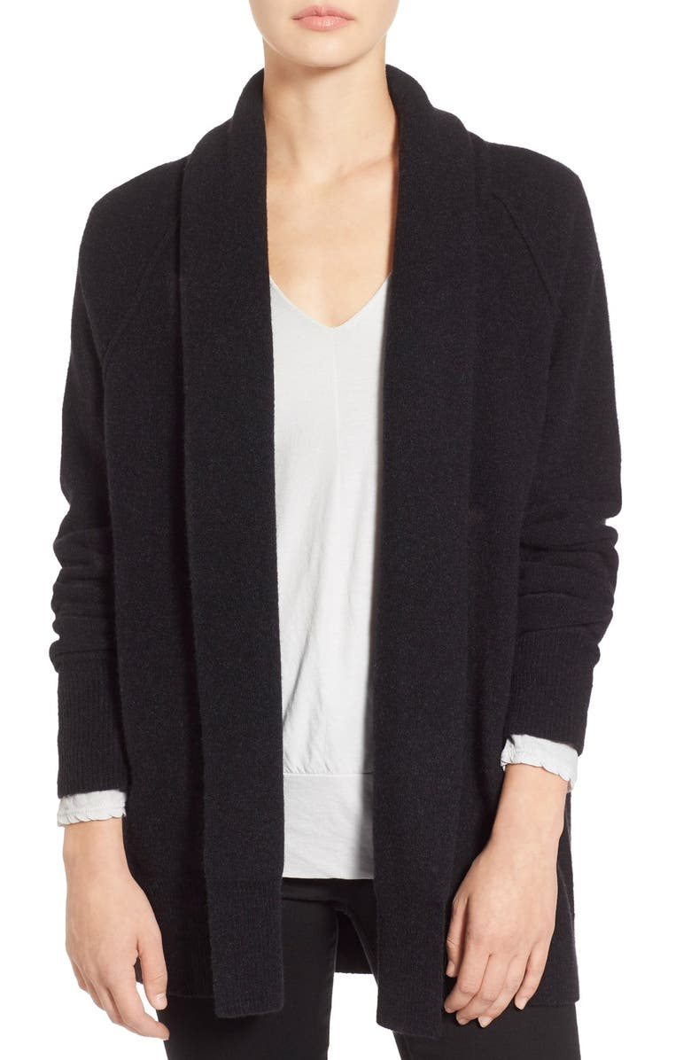 JAMES PERSE Merino Wool Blend Open Front Cardigan, Main, color, BLACK