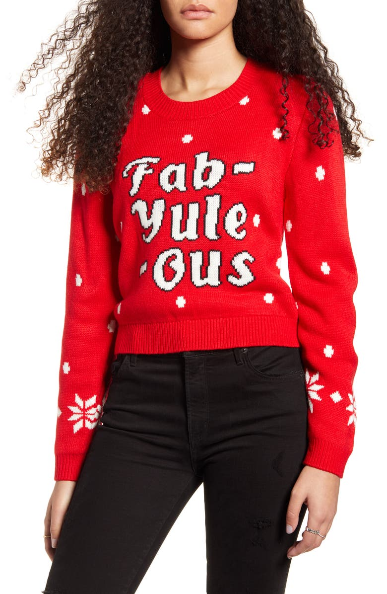 MINKPINK Fab-Yule-Ous Holiday Sweater, Main, color, 600