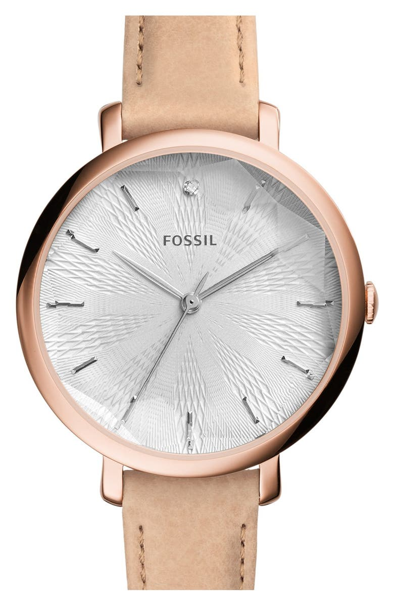 FOSSIL 'Jacqueline' Round Leather Strap Watch, 36mm, Main, color, 200