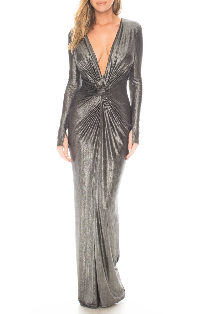 KATIE MAY In a Mood Plunging Long Sleeve Metallic Gown, Main, color, 044