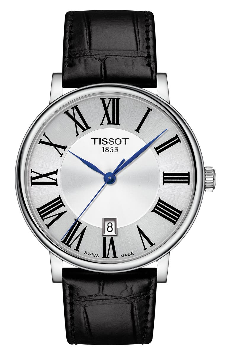 TISSOT T-Classic Carson Leather Strap Watch, 40mm, Main, color, BLACK/ SILVER