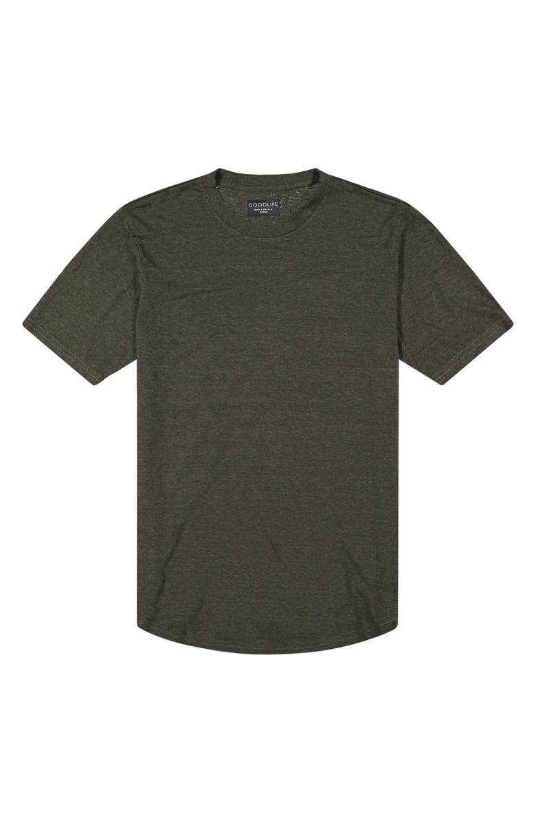 GOODLIFE Overdyed Triblend Scallop Crewneck T-Shirt, Main, color, OLIVE NIGHT
