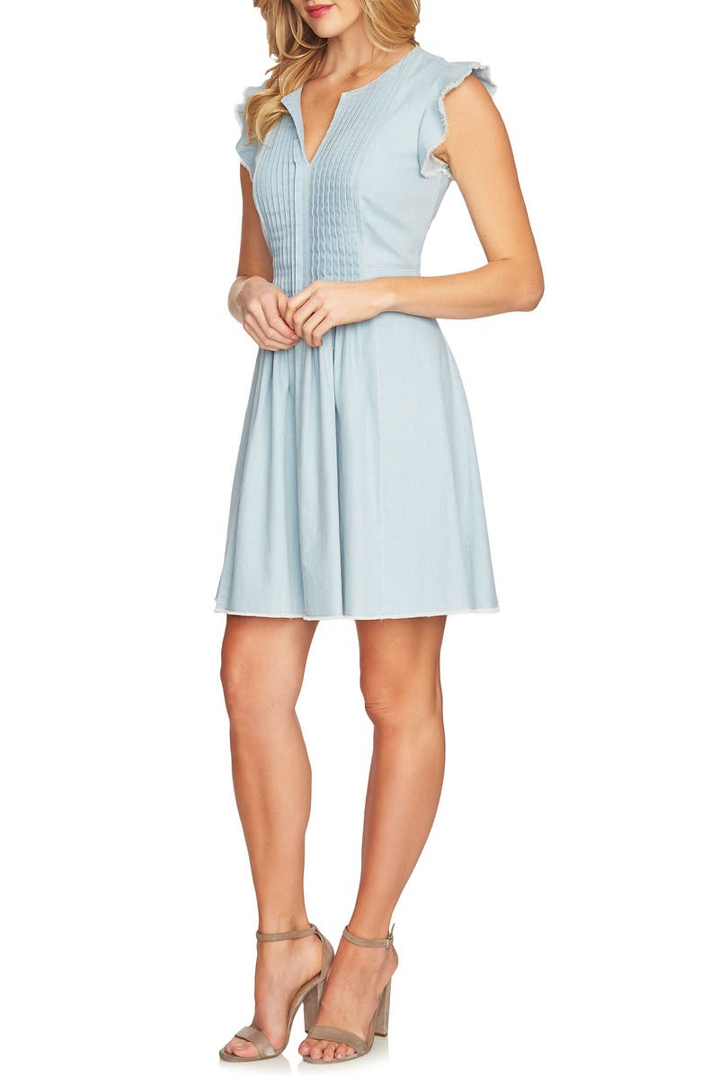 CECE Pintuck Cotton Denim Fit and Flare Dress, Main, color, 320