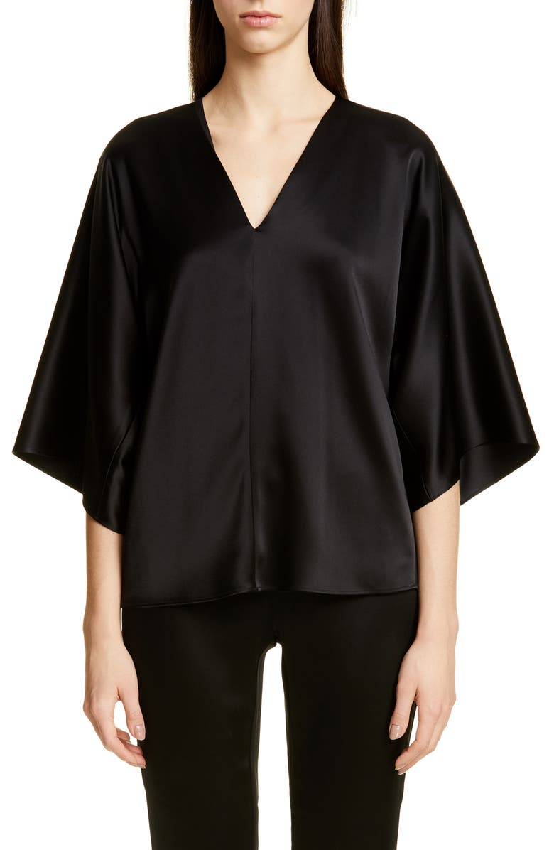 ST. JOHN COLLECTION Lightweight Liquid Satin Top, Main, color, 001