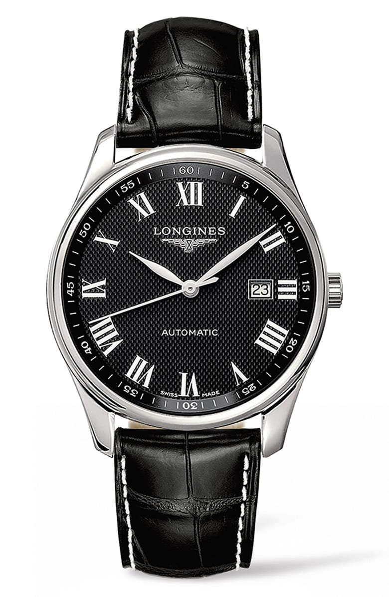 LONGINES Master Automatic Alligator Leather Strap Watch, 42mm, Main, color, BLACK/ SILVER