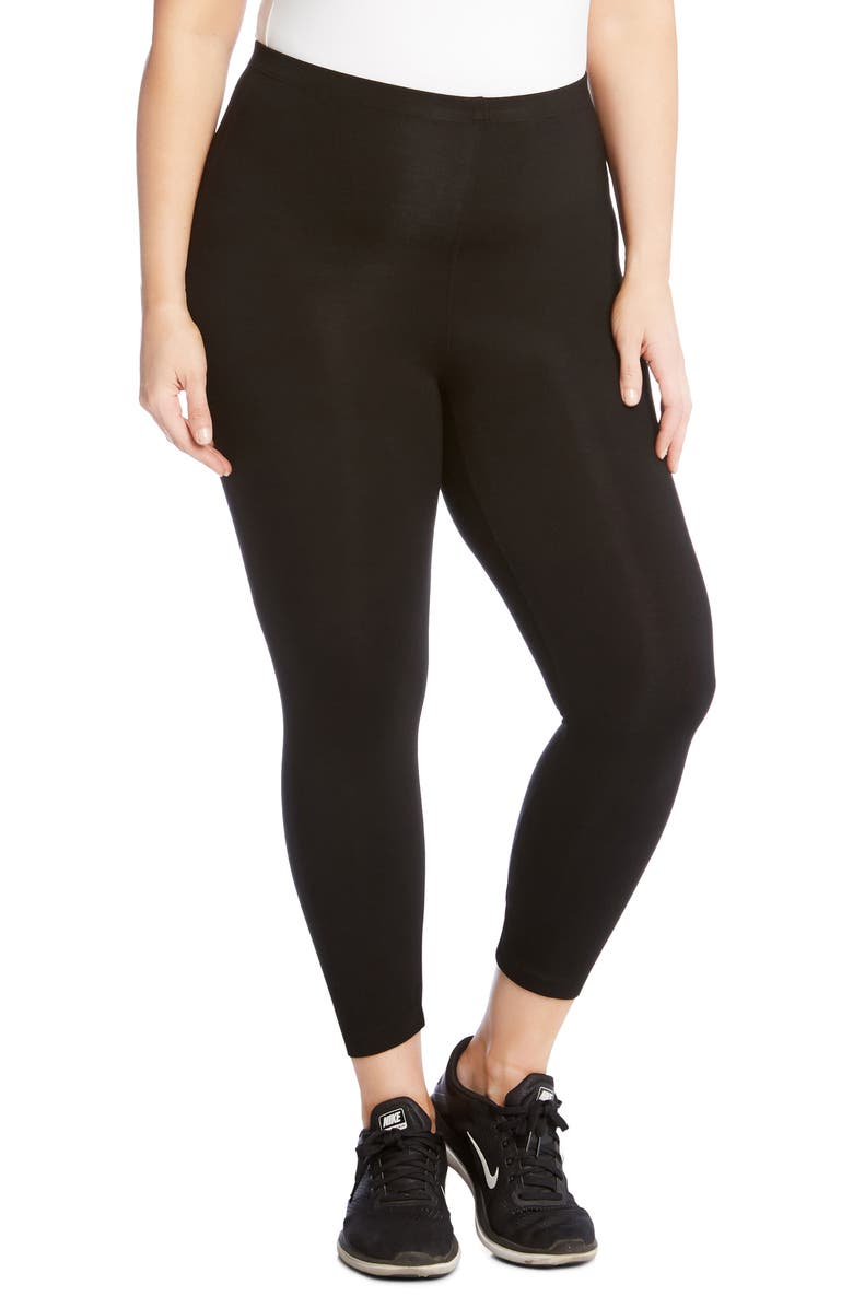 KAREN KANE Crop Leggings, Main, color, BLACK