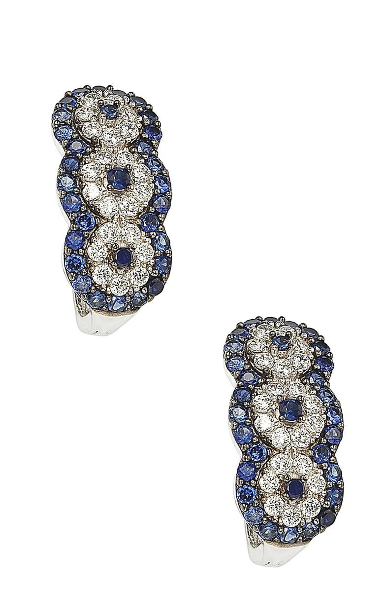 SUZY LEVIAN Sterling Silver Blue Sapphire, Created White Sapphire & Brown Diamond Circle Earrings - 0.02 ctw, Main, color, BLUE