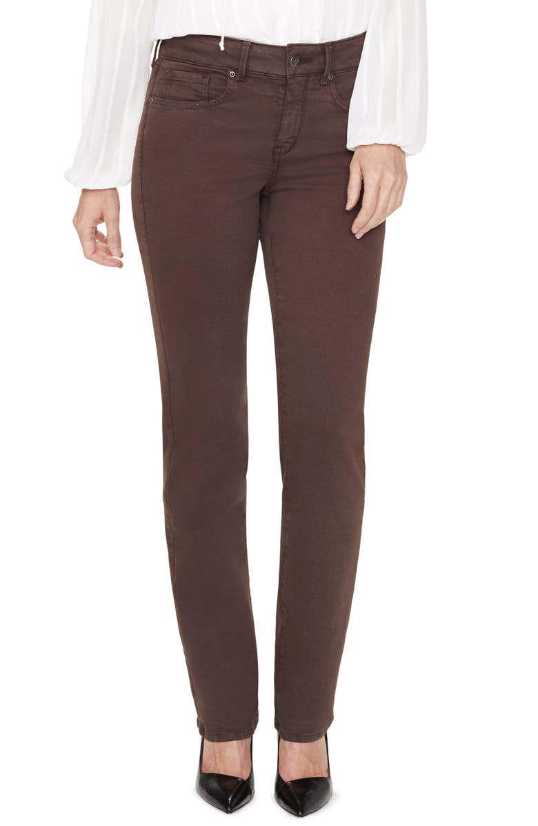 NYDJ Marilyn Straight Leg Stretch Jeans, Main, color, COFFEE BEAN
