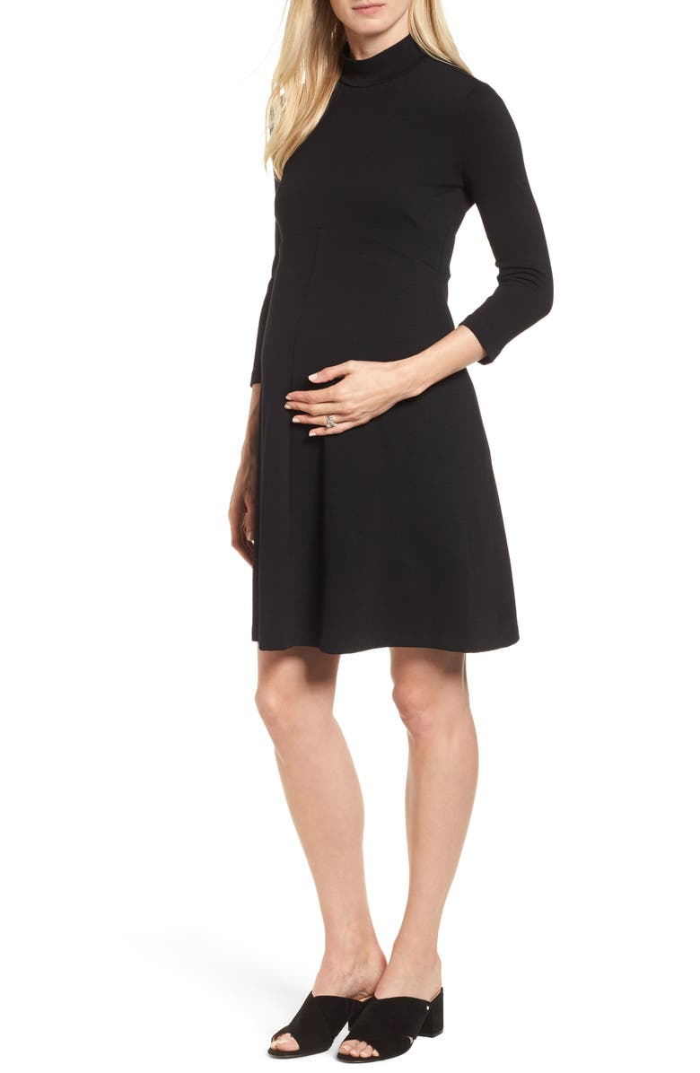 ISABELLA OLIVER Kennett Maternity Dress, Main, color, CAVIAR BLACK