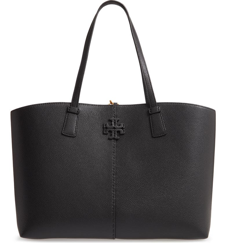 TORY BURCH McGraw Leather Tote, Main, color, BLACK