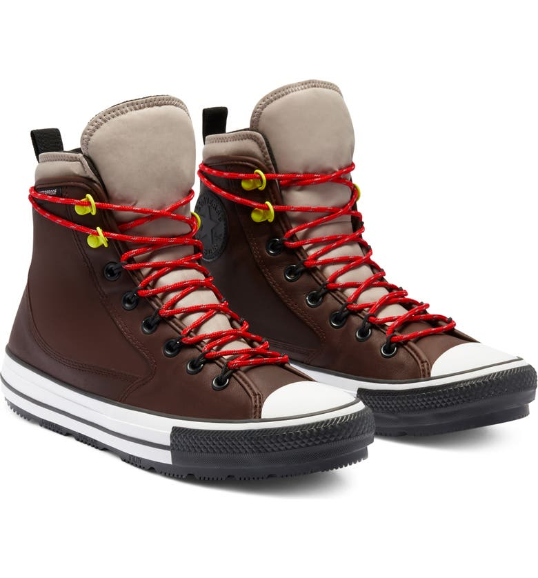 CONVERSE Chuck Taylor<sup>®</sup> All Star<sup>®</sup> High Top Waterproof Leather Sneaker, Main, color, DARK ROOT/ MALTED