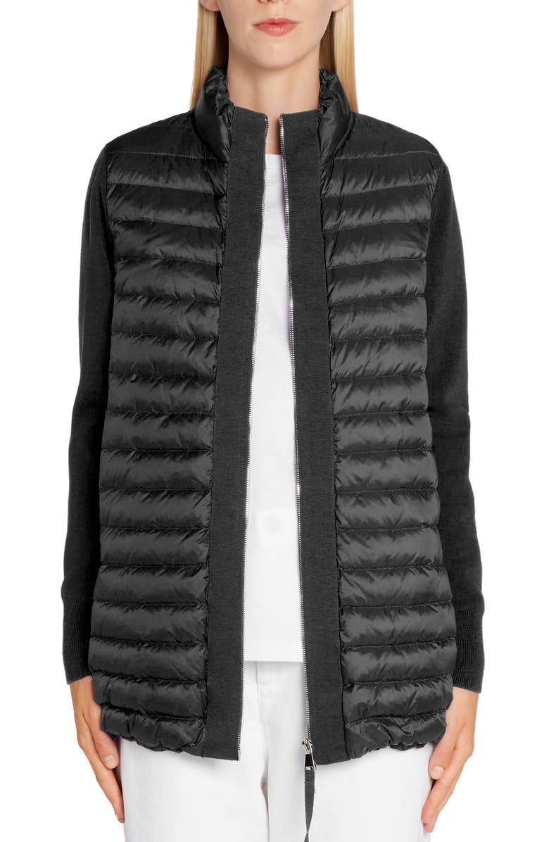 MONCLER Quilted Lightweight Down & Wool Cardigan, Main, color, Black