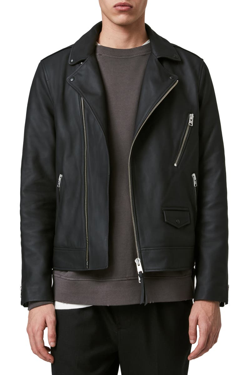 ALLSAINTS Bloc Leather Biker Jacket, Main, color, 001