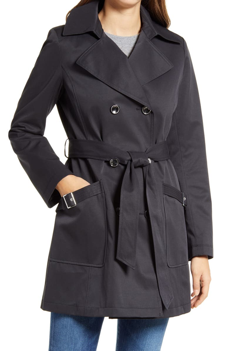 VIA SPIGA Water Resistant Belted Trench Coat with Removable Hood, Main, color, BLACK
