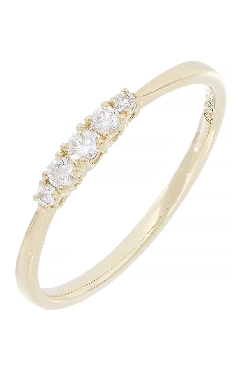 BONY LEVY 18K Yellow Gold Diamond 5 Stone Graduated Stackable Ring - 0.16 ctw, Main, color, 18KY