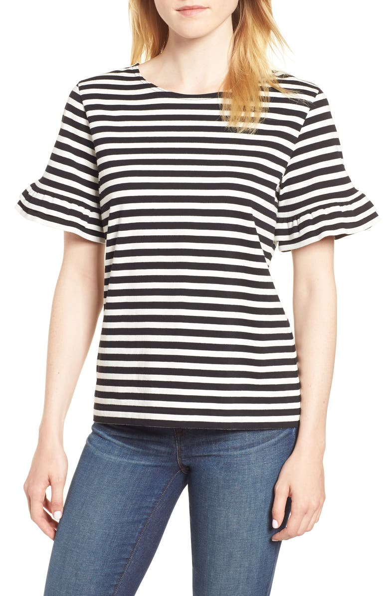 J.CREW Ruffle Sleeve Tee, Main, color, 004