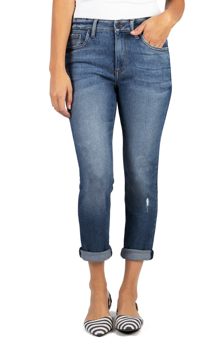 KUT FROM THE KLOTH Rachael Distressed Cuff Mom Jeans, Main, color, 400