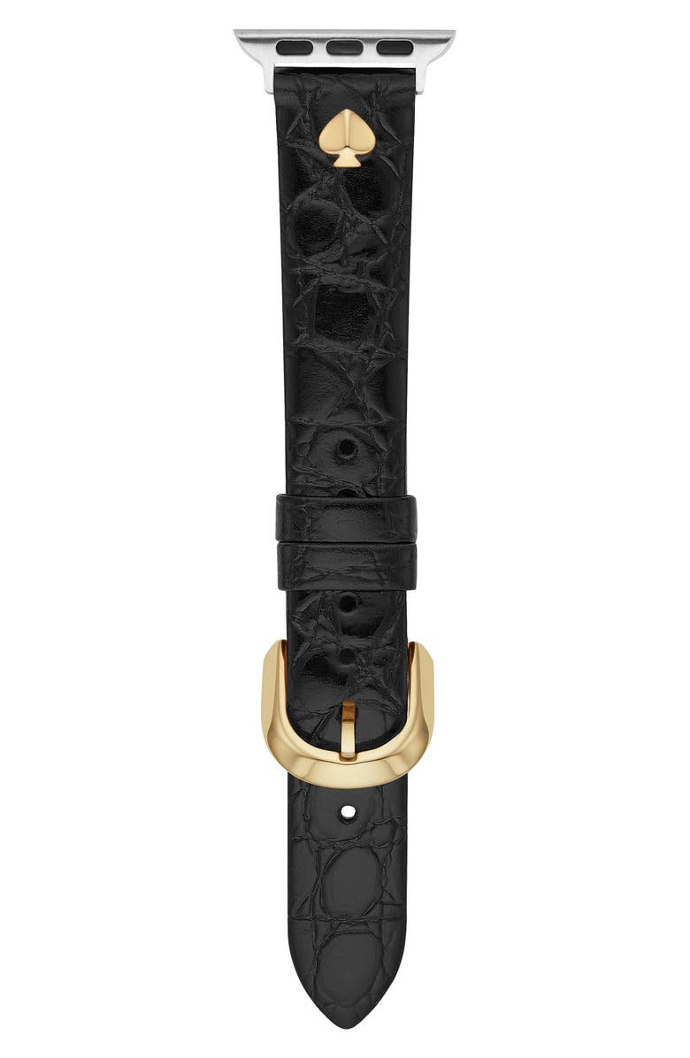 KATE SPADE NEW YORK croc embossed leather Apple Watch<sup>®</sup> strap, Main, color, BLACK
