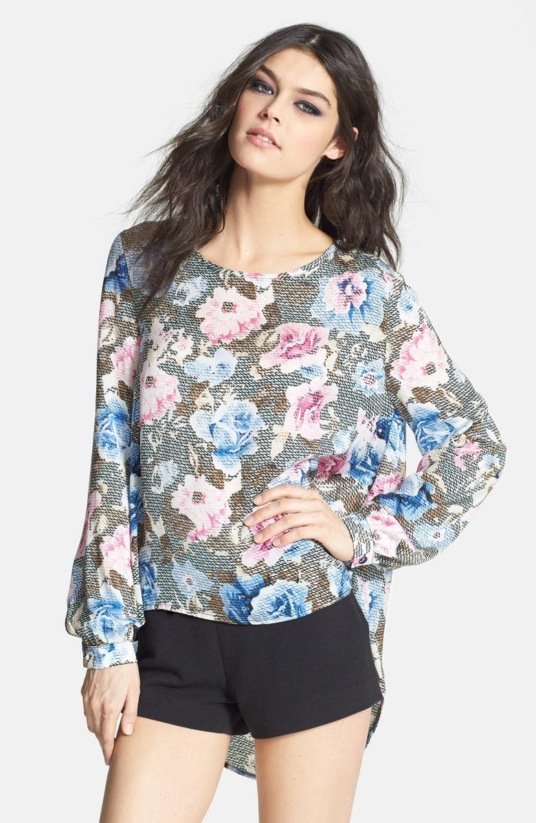 GLAMOROUS Floral Snakeskin Print High/Low Top, Main, color, 650