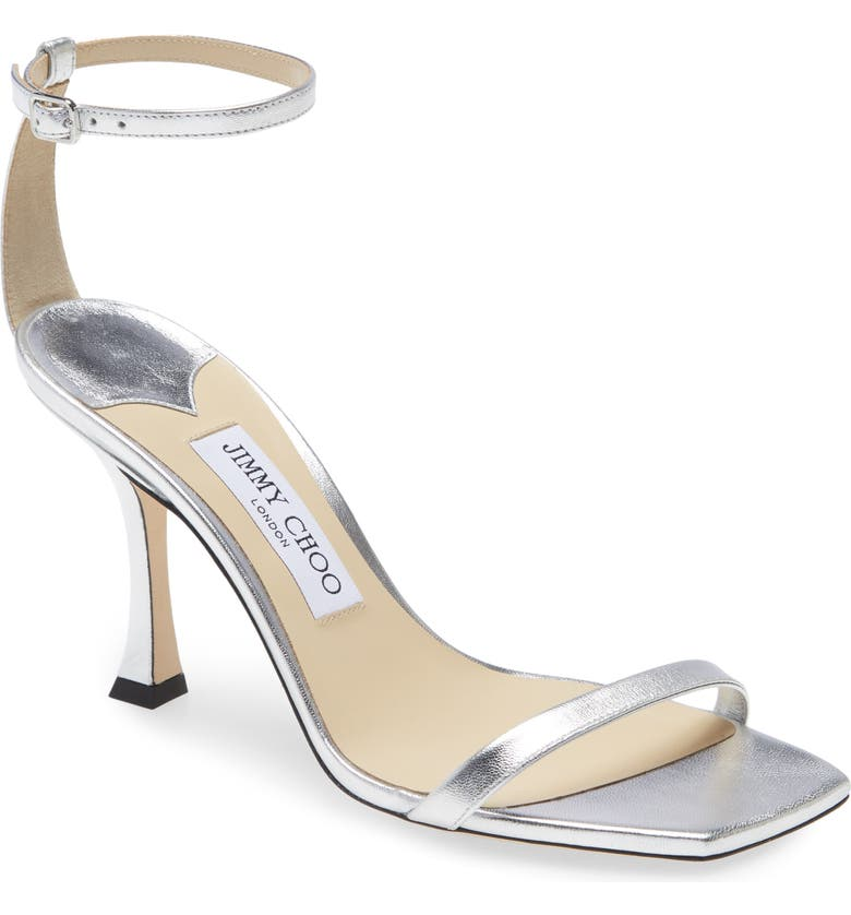 JIMMY CHOO Marin Ankle Strap Sandal, Main, color, SILVER
