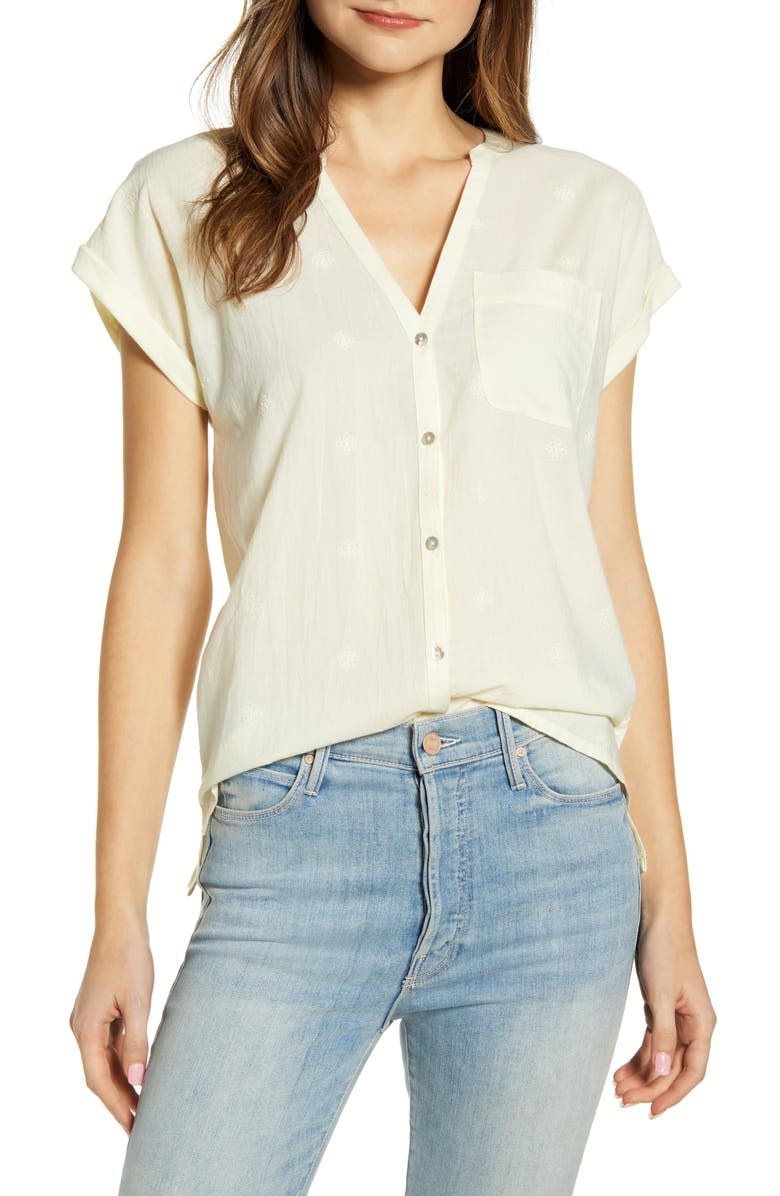 LUCKY BRAND Embroidered Mixed Media Top, Main, color, TRANSPARENT YELLOW
