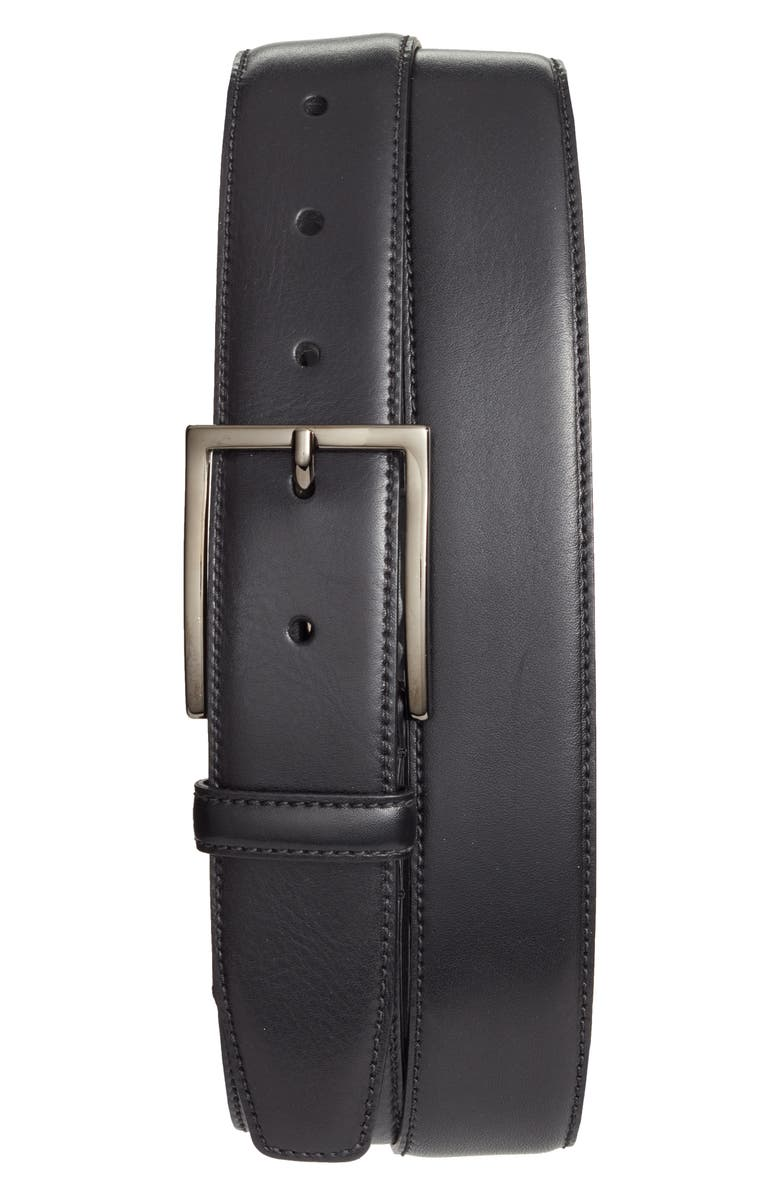 NORDSTROM Marco Burnished Leather Belt, Main, color, BLACK