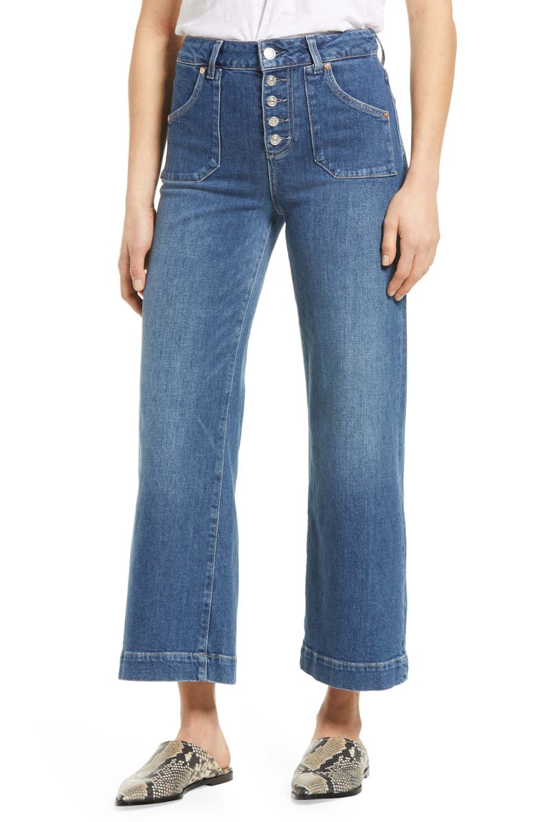 PAIGE Anessa High Waist Button Fly Wide Leg Jeans, Main, color, MIRELLA
