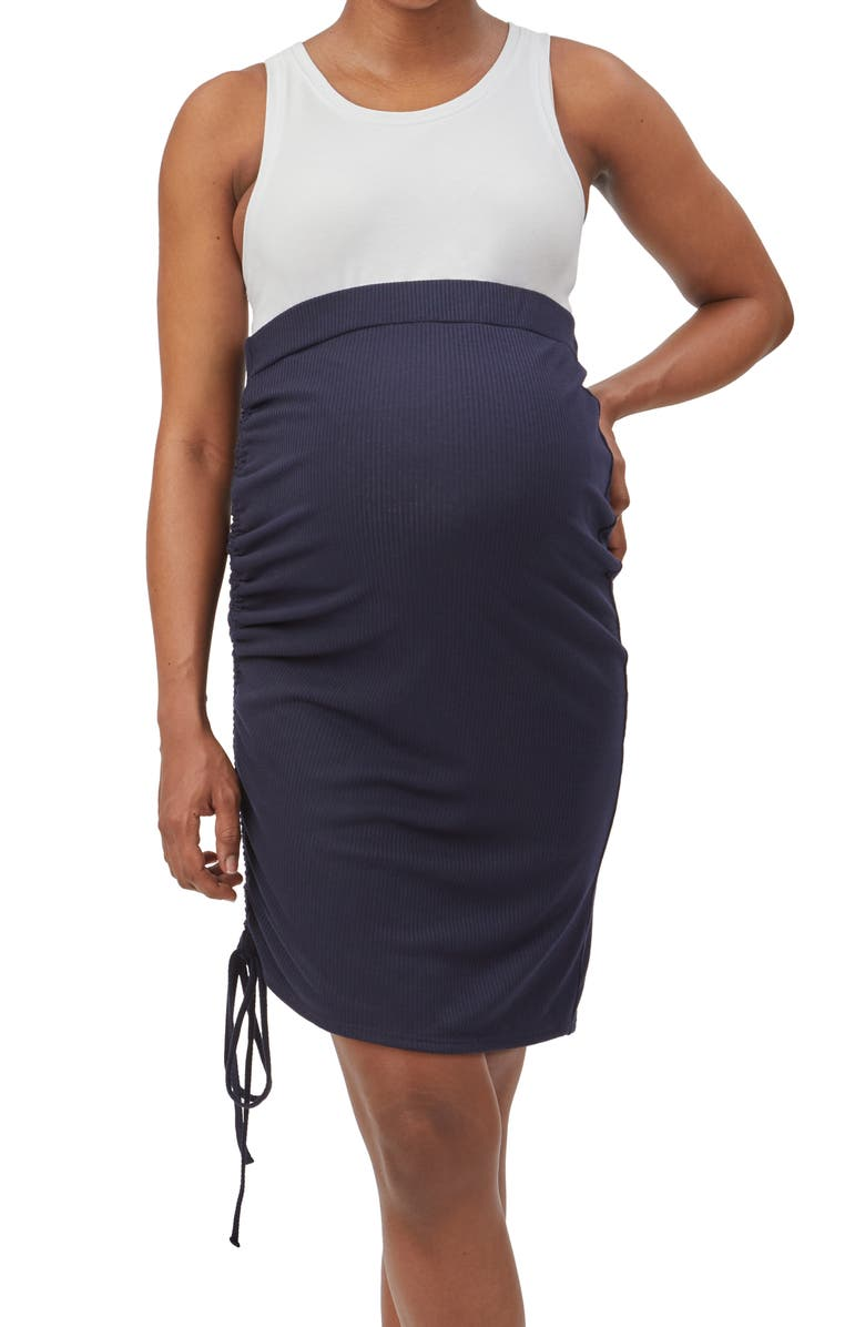 STOWAWAY COLLECTION Over Under Cinch Hem Maternity Skirt, Main, color, NAVY