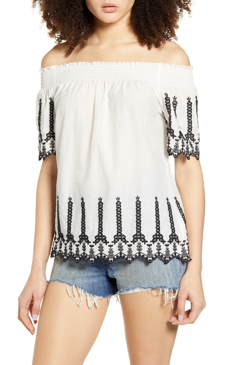 ONLY Shery Contrast Embroidery Off the Shoulder Top, Main, color, CLOUD DANCER BLACK