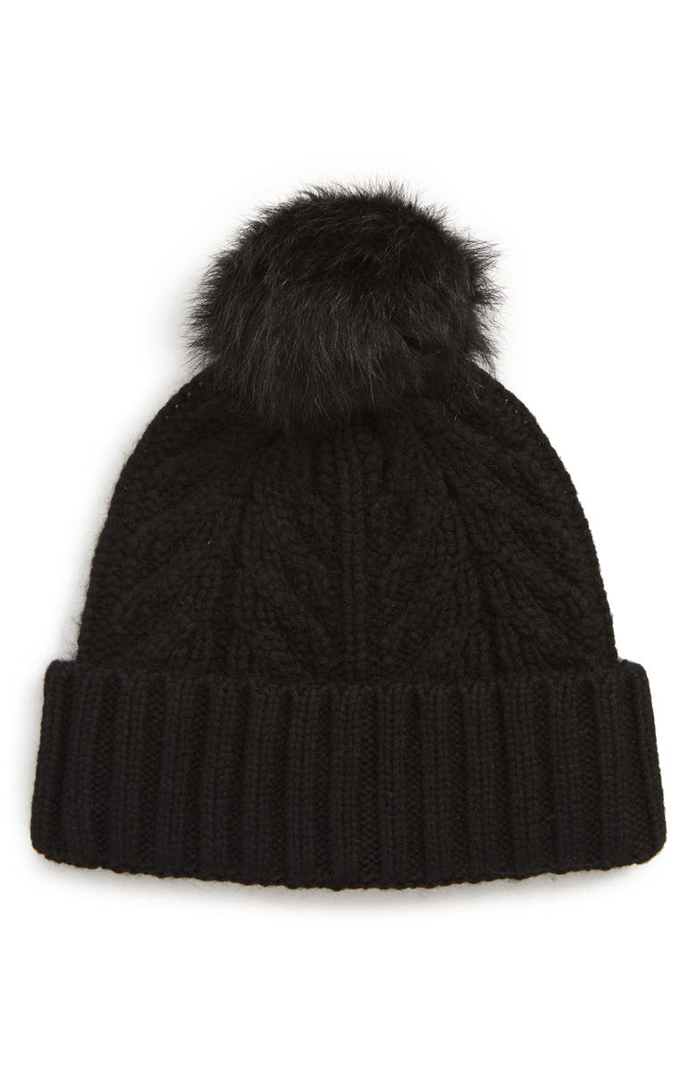 UGG<SUP>®</SUP> COLLECTION UGG<sup>®</sup> Pompom Cable Genuine Shearling Beanie, Main, color, 001