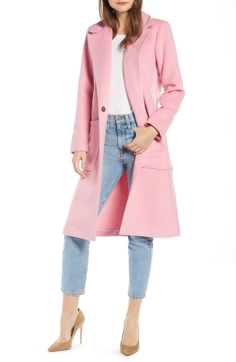 SOMETHING NAVY Patch Pocket Coat, Main, color, 450