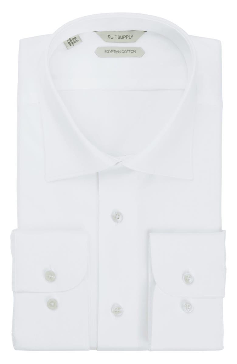 SUITSUPPLY Traditional Slim Fit Button-Up Dress Shirt, Main, color, WHITE