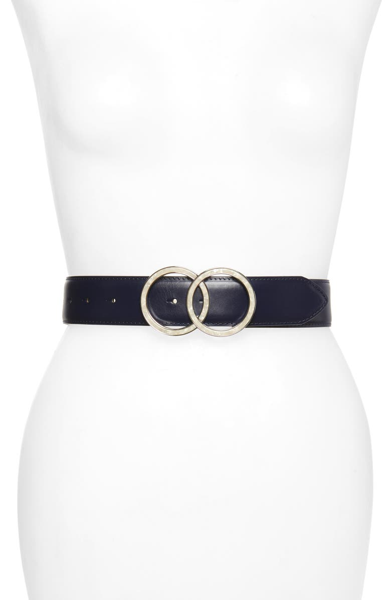 HALOGEN<SUP>®</SUP> Marbleized Rings Buckle Belt, Main, color, NAVY COMBO