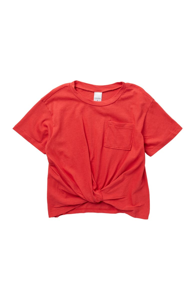 NORDSTROM Kids' Knot Front T-Shirt, Main, color, RED SAUCY