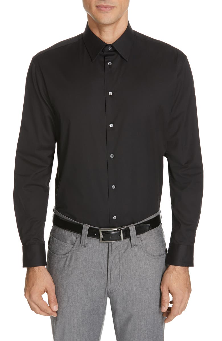 EMPORIO ARMANI Modern Fit Stretch Solid Dress Shirt, Main, color, 001